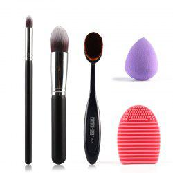 Stylish 5 Pcs/Set Eyeshadow Brush + Blush Brush + Foundation Brush + Sponge Blender + Brush Egg