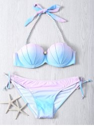 Sweet Beaded Halter Neck Color Ombre Bikini Set - COLORMIX 2XL