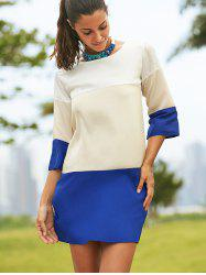 Round Neck Color Block 3/4 Sleeve Dress For Women -