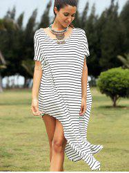 Casual Striped Short Sleeve High Slit Dress