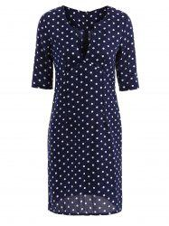Robe Sexy Chic Col-V Motif Pois Manche 1/2 Pour Femmes -