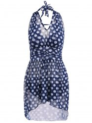 Polka Dot Sheer Skirted Underwire Tankini Bathing Suit -