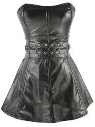Short Strapless Belts Design Ruffles Corset Dress - SILVER AND BLACK