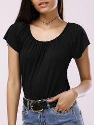 Brief Scoop Neck Solid Color Pleated Women's T-Shirt