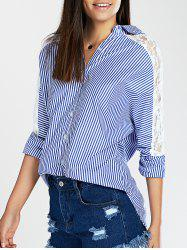 Lace Spliced Batwing Sleeve High-Low Striped Shirt -