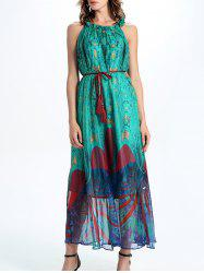 Frill Collar Tassel Belted Print Maxi Dress