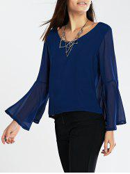Flare Sleeves Loose-Fitting Blouse -