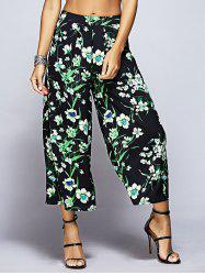 Tropical Floral Capri Palazzo Pants - BLACK AND GREEN