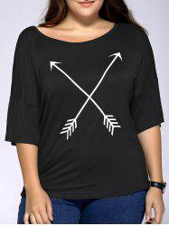 Casual Plus Size Arrows Print Loose Fitting T-Shirt -