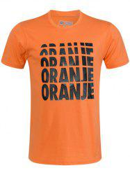 Round Neck Ombre Oranje Letters Print Short Sleeve T-Shirt For Men -