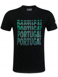 Round Neck Ombre Portugal Letters Print Short Sleeve T-Shirt For Men