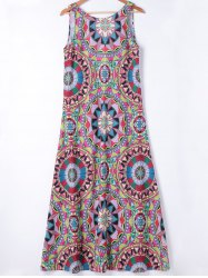 Ethnic Style Slimming Round Neck A-Line Dress For Women