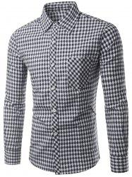 Slimming Small Grid Long Sleeve Shirt For Men