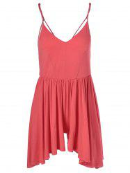 Fashionable Spaghetti Strap Backless Flounce Romper For Women - WATERMELON RED L