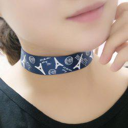 Vintage Eiffel Tower Pattern Choker Necklace - CADETBLUE
