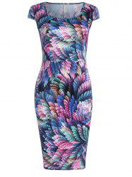 Trendy Square Neck Feather Print Skinny Women's Bodycon Dress - COLORFUL XL