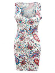 U Neck Paisley Print Tank Bodycon Dress - BEIGE
