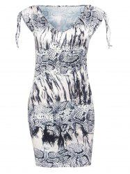 Trendy V-Neck Snakeskin Print Skinny Women's Dress -