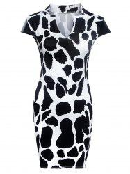 Fashionable Printed Faux Leather Spliced Skinny Women's Dress