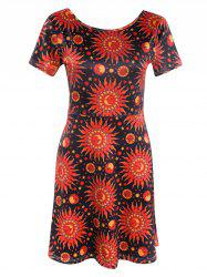 Fashionable Short Sleeve Sun Print Women's Mini Dress -