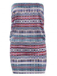 Strapless Geometric Print Bodycon Dress -