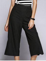 Slit Capri Wide-Leg High Waisted Pants