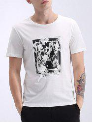Refreshing Round Neck Abstract Print Short Sleeves T-Shirt For Men -