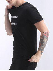 Refreshing Round Neck Letter Printed Short Sleeve T-Shirt For Men -