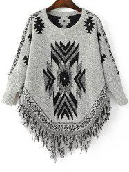 Stylish Round Neck Long Sleeve Geometric Tassels Women's Jumper - BLACK AND GREY ONE SIZE