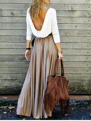 Long Sleeve Floor Length Draped Backless Long Flowy Club Dress - KHAKI