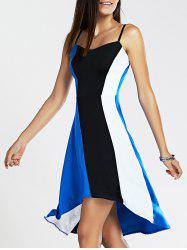 Spaghetti Strap Color Blocks High-Low Dress - Bleu Et Noir