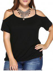 Plus Size Dew Shoulder T-Shirt - BLACK
