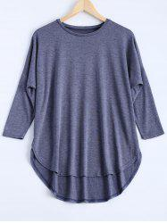 Marled Drop Sleeve Asymmetric Top