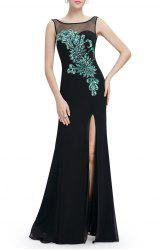 Backless Slit Sheer Maxi Cocktail Prom Evening Dress