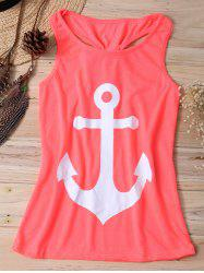 Stylish Scoop Neck Anchor Print Racerback Tank Top  For Girl -