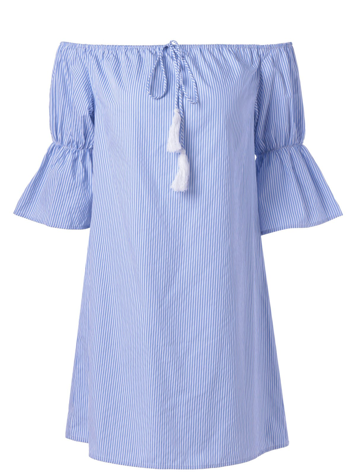 Sale Casual Bell Sleeves Off-The Shoulder Stripe Dress For Women