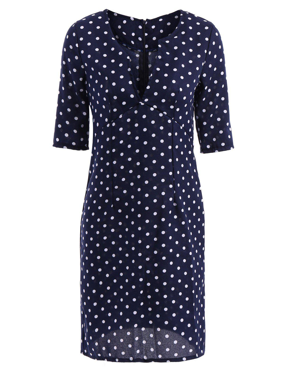 Robe Sexy Chic Col-V Motif Pois Manche 1/2 Pour Femmes