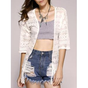Fashionable Openwork Lace Fringe Short Sleeves Kimono For Women