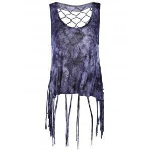 Fashionable Scoop Neck Fringe Weave Tank Top For Women