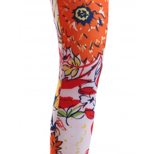 Causal Floral Printing Elastic Waist Stretch Skinny Pants For Women -