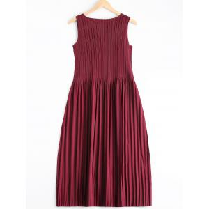 Elegant Solid Color Scoop Neck Pleated Sleeveless Dress For Women -