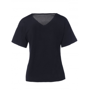 Casual  Solid Color V-Neck Asymmetric Short Sleeves Knitted T-Shirt For Women -