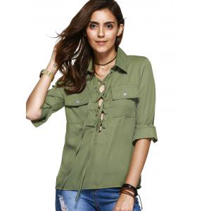 Simple Design Long Sleeves Lace Up Blouse For Women -