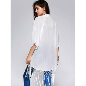 Stylish Chiffon Solid Color Fringe Kimono For Women -