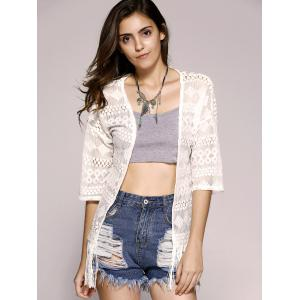 Fashionable Openwork Lace Fringe Short Sleeves Kimono For Women -