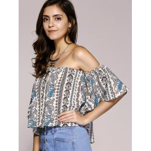 Ethnic Style Off The Shoulder Paisley Printed Crop Top For Women -