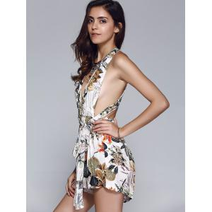 Fashionable Tie Floral Print Backless Romper For Women -