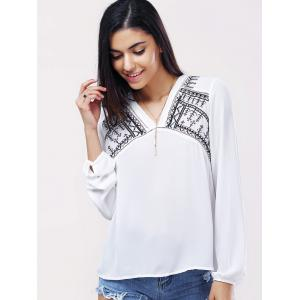 Casual V-Neck Long Sleeves Embroidered Blouse For Women -
