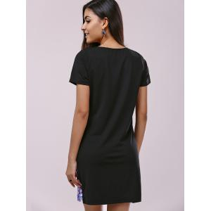 Fashionable Short Sleeve Scoop Neck Printing Dress For Women -