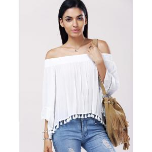 Casual Solid Color Boat Neck Fringe Bell Sleeves Blouse For Women -